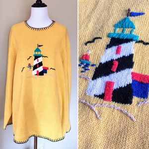 Vintage lighthouse graphic design slouchy sweater
